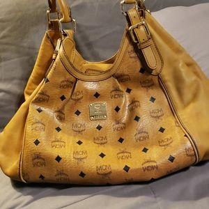 Mcm large satchel tote